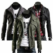 Nice Stylish Fit Mens Military SlimCollar Jacket Coat Zip Button Hoodies Outwear