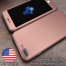 360° Full Body Matte Mirror Case Cover + Tempered Glass for iPhone 5 6 6s 7 Plus