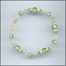 Exquisite Gold Filled Bracelet w/ Swarovski Rondelles & PERIDOT GREEN Crystals