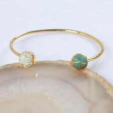 Natural Genuine Turquoise Bangle Gold Plated B035384
