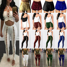 Womens Sexy High Waisted Legging/ Shorts Skinny Lace Up Casual Hot Pants Trouser