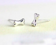Silver Plated Tiny Dogs Bone Cute Puppy Earrings Pair of Studs in Gift Bag/Box