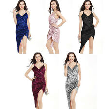 Ladies Women Sexy V-Neck Asymmetrical Spaghetti Strap Solid Color Party Dresses