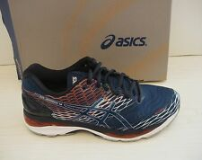 ASICS MENS NIMBUS 18 RUNNING SNEAKERS- SHOES- T600N-5858- POSEIDON/ S RED- 9