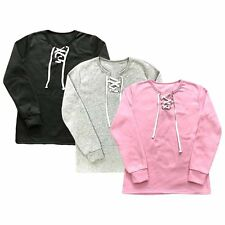 Solid Color Casual Sweaters Lace Up V-Neck Blouse Jumper Pullover Sweats Women