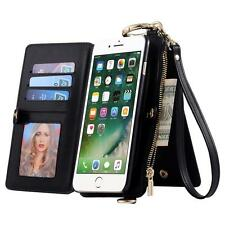 Card Slot Wallet Folio PU Leather Case Detachable Magnetic Hard Case For iPhone