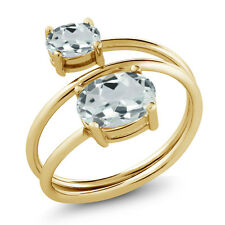1.53 Ct Oval Sky Blue Aquamarine 18K Yellow Gold Plated Silver Ring