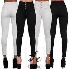 Women Black High Waist Jeans Stretch Denim Ladies Skinny Leg Trousers Size 8-18