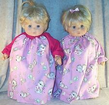 """Doll Clothes Baby Twins 2 Nightgown fit American Girl Bitty 15"""" Bears Pink NEW"""