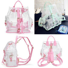 Girl's PVC Clear Transparent Backpack Satchel Tote Shoulder Straps Jelly Satchel