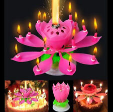 Birthday Magical Amazing Blossom Lotus Musical Rotating Candle Flower Light