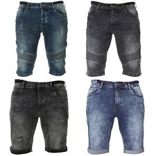 NEW ENZO MENS DESIGNER DENIM SUPER STRETCH SKINNY FASHION SHORTS WAIST 28-48