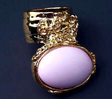 CHUNKY PINK STATEMENT KNUCKLE ART RING GOLD WOMEN ARTY PASTEL ARMOR JEWELRY