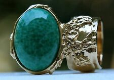 JADE GREEN VINTAGE GLASS STATEMENT KNUCKLE ART RING GOLD WOMEN ARTY CHUNKY ARMOR