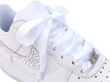 New Kids Juniors Womens Satin Ribbon Trainer Laces Shoelaces with Logo Aglets