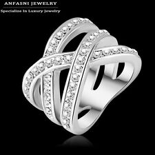 New Arrival ! 18K Gold Plated GP Austrian Crystal Cross Wide Party Ring 2017