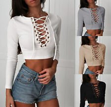 New Womens Long Sleeve Lace Up Neck T-Shirt Top Casual Ladies Crop Blouse Tops