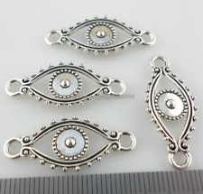 15/30/250pcs Tibetan Silver Evil Eye Connectors Pendants Jewelry Making 12x29mm
