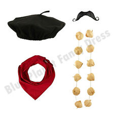 DELUXE MENS FRENCH MAN STAG NIGHT WAITER FANCY DRESS COSTUME OUTFIT KIT LOT