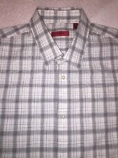 Men's HUGO BOSS ElmarX Button Up Shirt White Black Size 17 34/35