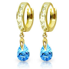14K Gold White and Blue Topaz Huggie Earrings Real Gemstone Retail $1429