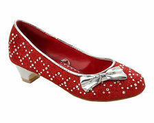 GIRLS RED GLITTER DIAMANTE BRIDESMAID WEDDING PARTY FANCY SHOES UK SIZE 10-4