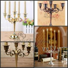 5Arms Vintage Metal Candle Holder Craft Candelabra+5pcs Candles for Decoration