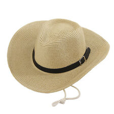 Men's Western Cowboy Straw Hat New Camping Sun Hat Cycling Wide Brim Summer  Cap
