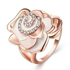 New 18K Rose Yellow Gold Plated GP Rhinestone Rose Flower Wide Band Ring Jewelry