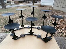 VINTAGE RUSTIC WROUGHT IRON 8 TIER TABLE LEAF VINE CANDLE HOLDERS HOME DECOR