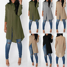 Womens Blouse Chiffon Long Sleeve Ladies Shirt Dress Loose Casual Tops Size 6-14