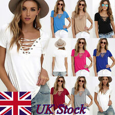 Women V Neck Lace UP T-Shirt Fashion Short Sleeve Loose Top Casual Ladies Blouse