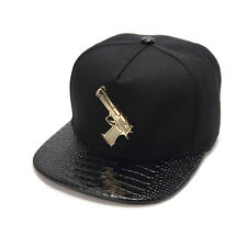 New Golden Pistol Brim Snapback Hats Hip-Hop adjustable bboy Baseball Cap Unisex