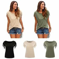 Casual Ladies Tassel Knot Loose Short Sleeve T-shirts Blouse Shirts Summer Tops