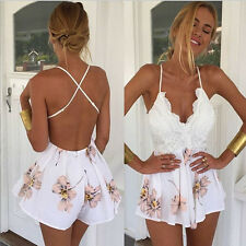 Womens Sexy Backless Spaghetti strap White Floral Beach Sundress Party Dress Hot