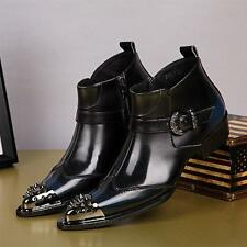 Mens Motorcycle Ankle Boot Metal Leather Punk High Top Studded Pointed Toe Shoes