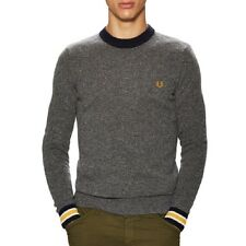 Fred Perry Men's Fleck Crew Neck Sweater Graphite Lambswool Blend $160 msrp NWT