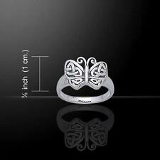 Graceful Silver Butterfly Ring with intricate Celtic Knotwork - Size Selectable