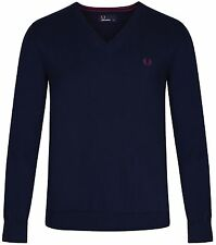 FRED PERRY MENS CLASSIC V NECK JUMPER COTTON LAUREL WREATH MOD TENNIS NAVY