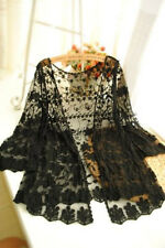 Womens Boho Lace Floral Crochet Chiffon Cardigan Coat Kimono Tops Kaftan AS