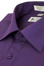 Paolo Giardini Men's Dress Shirt Convertible Cuffs Cotton Blend Solid Purple
