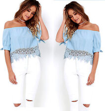 Fashion Women Summer Loose Casual Off Shoulder Shirt Tops Blouse Ladies Crop Top