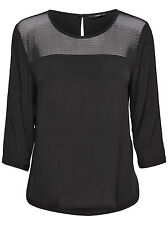 Ladies Blouse Tunic WONDER 3/4 MESH TOP WVN black white red