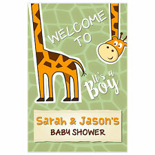 Giraffe Boy Welcome Sign for Baby Shower – Personalized Poster