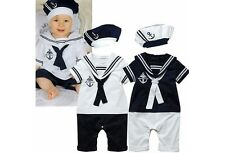 Baby Boy Sailor White Navy Romper with Hat Suit Grow Summer Outfit