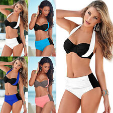 Fashion Women Color Cross Halter Fission Bathing Suit Swimsuit Bikini Swimwear