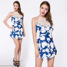 Sexy Women Summer Strapless Lace Floral Mini Dress Party Cocktail Evening Dress