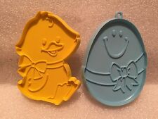 2 Vintage 1980's Hallmark Cookie Cutters for Easter Chick and Egg Yellow Blue