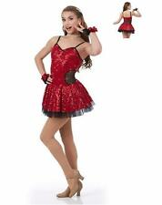 Fashionista Dance Costume RED Sequin Jazz Tap Ice Skating Ballet Dress Clearance