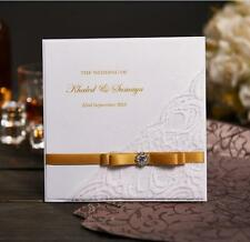 50 Gold Ribbon Handmade Wedding Invitations Personalized Wedding Card With Photo